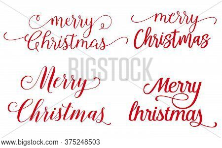 Merry Christmas Vector Text Calligraphic Lettering Design Card Template