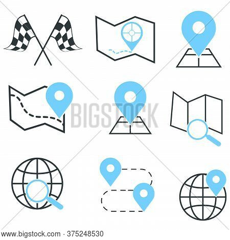 Map Search Sign Icon Set Symbol Vector,illustration