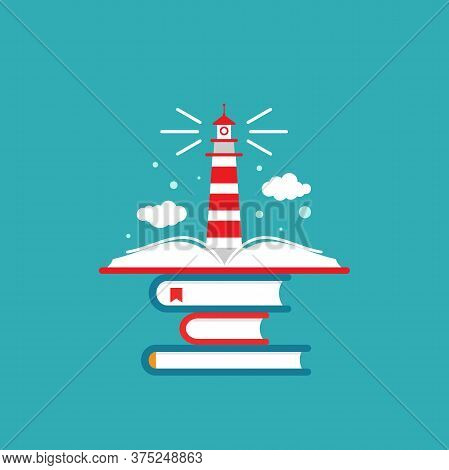 Book Stack With Lighthouse Or Beacon And Clouds On Blue Background.