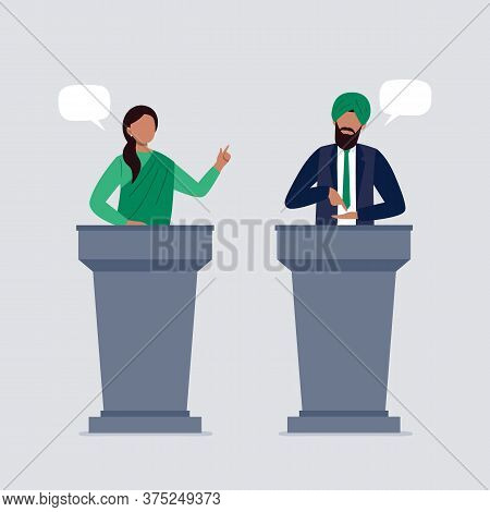 Indian People Taking Part In Debates. Pair Of Government Workers Talking To Each Other, Discussing P