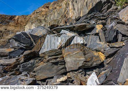 Slate Mine Garbaje Rocks Closeup Bottom View