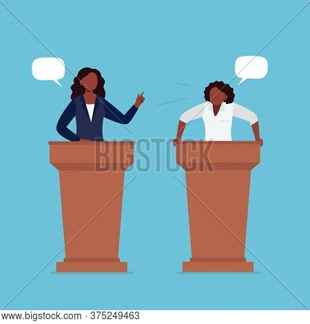 African-american Women Taking Part In Debates. Pair Of Government Workers Talking To Each Other, Dis