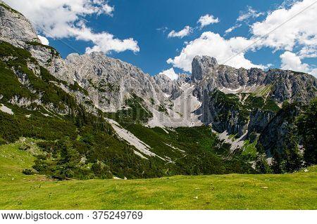 Summer Aerial Panorama View Of Landscape Near Hofpurglhutte - Hofpurgl Alpine Mountain House Hut, Gr