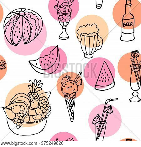 Vector Seamless Pattern With Summer Drinks And Food On White Background With Bright Color Circles. W