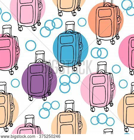 Vector Seamless Pattern With Travel Suitcases On White Background With Bright Color Circles. Doodle