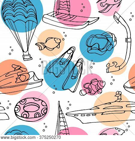 Vector Seamless Pattern With Water Sports Equipment On White Background With Color Circles. Scooter,