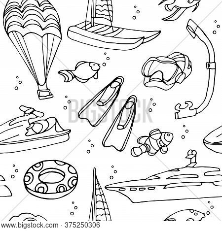 Vector Seamless Pattern With Water Sports Equipment On White Background. Scooter, Flippers, Mask, Sn