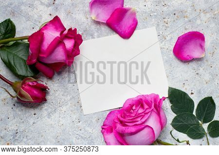 Pink roses with a blank white card for your message, overhead view.