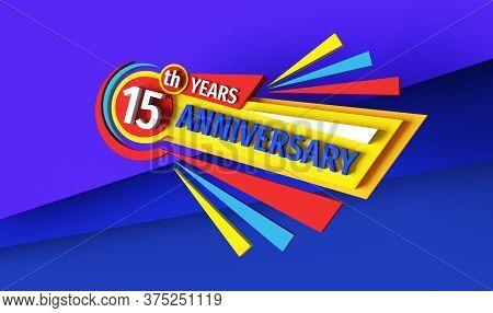 15th Anniversary - 3d Rendering Banner Logo Design. Fifteen Years Birthday Badge Emblem. Congratulat