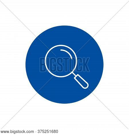 Magnifying Glass Icon On Blue Circle, Vector Magnifier Button.