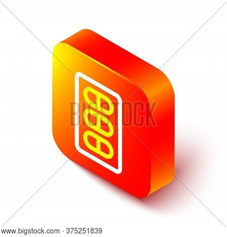 Isometric Line Pills In Blister Pack Icon Isolated On White Background. Medical Drug Package For Tab