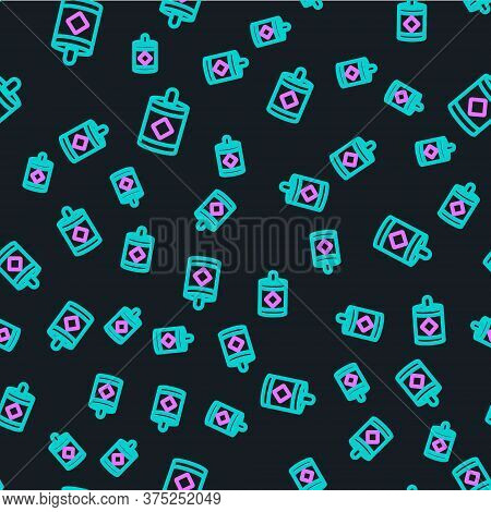 Line Firework Icon Isolated Seamless Pattern On Black Background. Concept Of Fun Party. Explosive Py