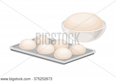 Baking Process With Kneading And Dough Molding Vector Illustration