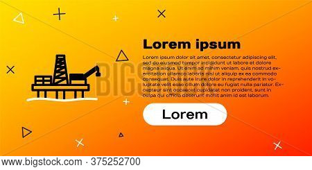 Line Oil Platform In The Sea Icon Isolated On Yellow Background. Drilling Rig At Sea. Oil Platform,