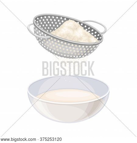 Baking Process With Flour Sieving And Mixing Ingredients For Dough Preparation Vector Illustration