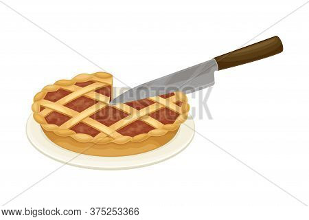 Knife Cutting Pie Rested On Plate Vector Illustration
