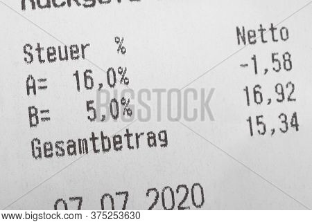 Receipt Shows Reduced Value-added Tax Rate In Germany - Vat Is Called Mwst Or Mehrwertsteuer In Germ