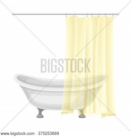 Bathtub With Hanging Shower Curtain As Home Amenity Vector Illustration