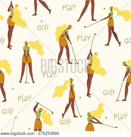 Seamless Pattern With African American Young Girl Hitting Ball With Golf Club. Vector Flat Hand Draw