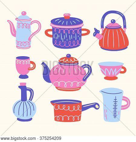 Set With Kitchen Utensil. Scandinavian Illustration Of Kitchen Elements In Flat Style. Funny Cartoon