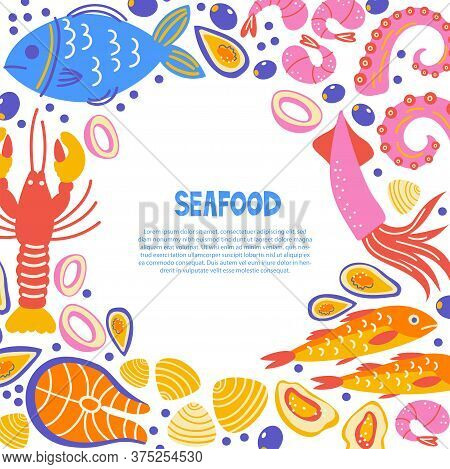 Healthy Food Flat Set. Scandinavian Illustration Of Seafood. Cooking Courses Poster With Text Space.