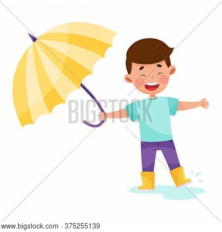 Little Boy Character In Yellow Boots Walking In Rainy Day With Umbrella Vector Illustration
