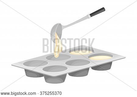 Baking Process With Liquid Dough Pouring In Ake Pan Vector Illustration