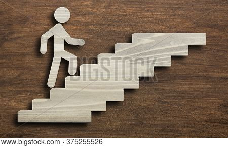 Career Growth And Self-development. Stickman Walking Upstairs Over Brown Wooden Background. Collage