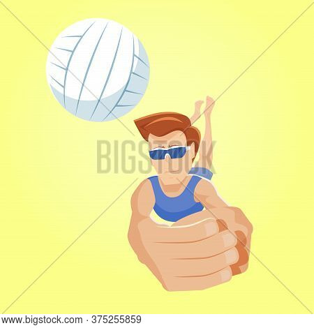 Digging In Beach Volleyball. Young Player Dives After A Ball To Catch It. Playing A Ball Low On Defe