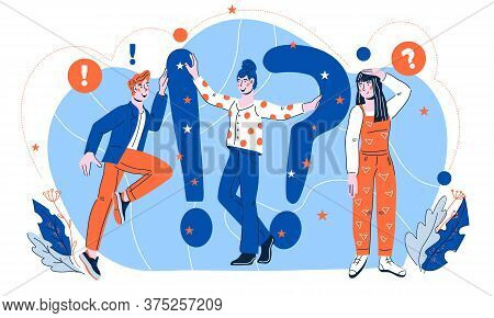 Quiz Concept Illustration Of People Asking Questions And Having Answers, Flat Cartoon Vector.