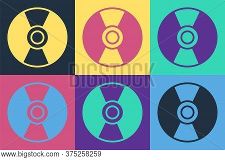 Pop Art Cd Or Dvd Disk Icon Isolated On Color Background. Compact Disc Sign. Vector Illustration
