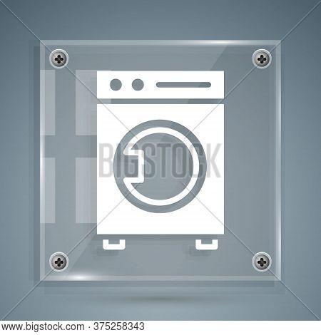 White Washer Icon Isolated On Grey Background. Washing Machine Icon. Clothes Washer - Laundry Machin