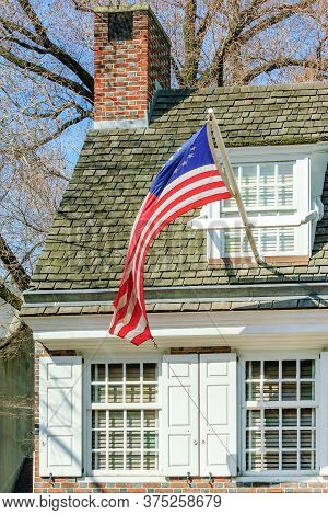 Historic House Of Betsy Ross, Who Created The First American Flag, On Arch Street In Old City Of Phi