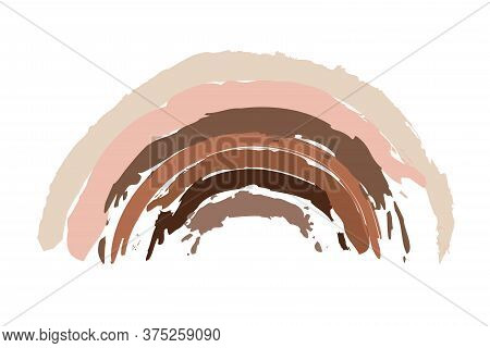 Rainbow Shape In Different Races Skin Colors On White Background. Different Races Equality, Interrac