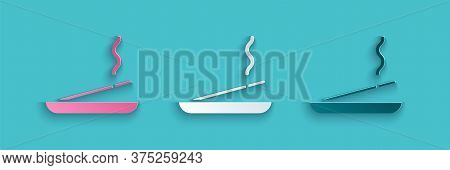Paper Cut Scented Spa Stick On A Wooden Stand Icon Isolated On Blue Background. Incense Stick. Cosme