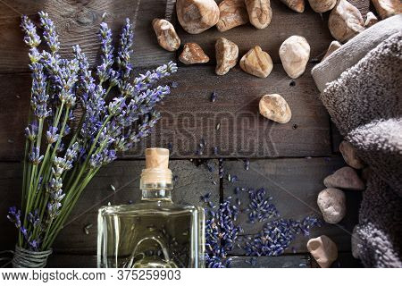 Decoration For A Lavender Aromatherapy. Atmospheric Flat Lay Photography On Dark Rustic Wood. Backgr