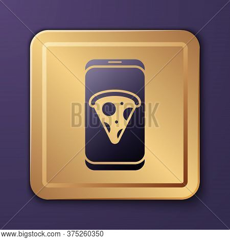 Purple Food Ordering Pizza Icon Isolated On Purple Background. Order By Mobile Phone. Restaurant Foo