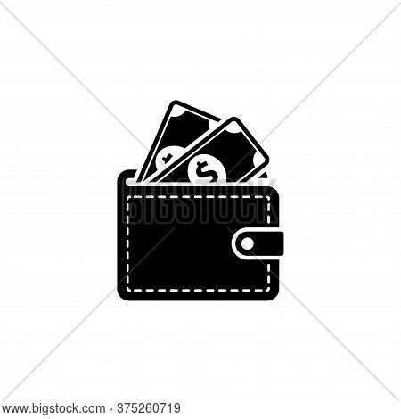Wallet Icon With Cash Money Isolated On White Background. Wallet Icon Trendy And Modern Money Bag Sy