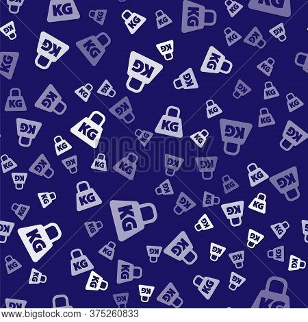 White Weight Icon Isolated Seamless Pattern On Blue Background. Kilogram Weight Block For Weight Lif