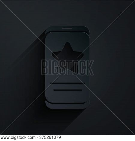 Paper Cut Mobile Phone With Review Rating Icon Isolated On Black Background. Concept Of Testimonials