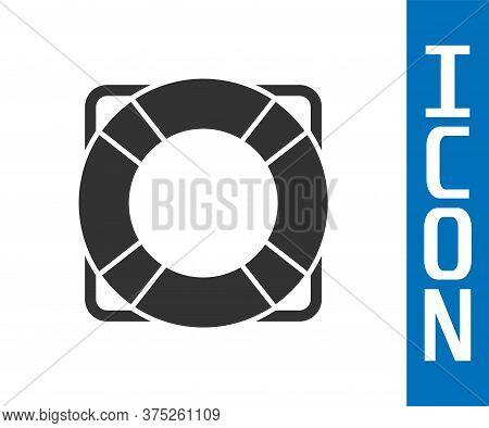 Grey Lifebuoy Icon Isolated On White Background. Lifebelt Symbol. Vector Illustration