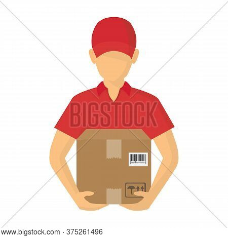 Vector Illutration Of Fast Delivery Service. Express Delivery Courier Service. Man Courier With Box