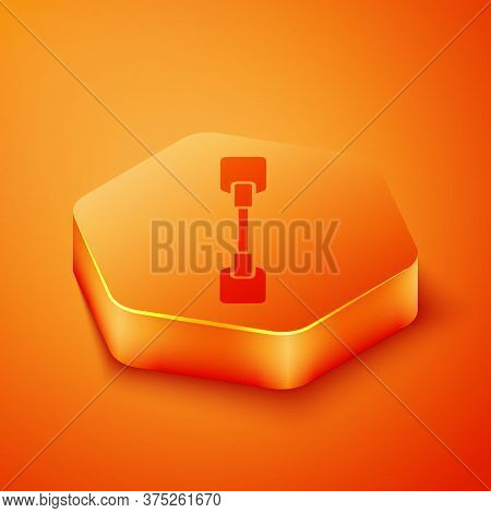 Isometric Paddle Icon Isolated On Orange Background. Paddle Boat Oars. Orange Hexagon Button. Vector