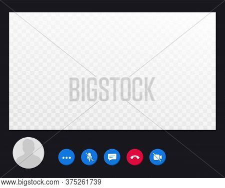 Video Call Screen Template. Video Call Interface For Social Communication App. Video Conference. Moc