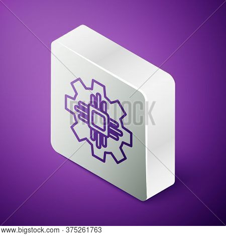 Isometric Line Processor Icon Isolated On Purple Background. Cpu, Central Processing Unit, Microchip