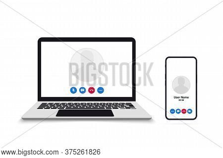 Video Call On Smartphone And Laptop. Remote Working. Video Call Screen Template. Interface For Socia