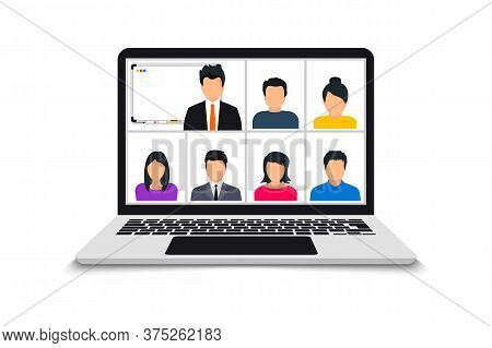 Conference Video Call. Online Meeting In Video Call. Web Video Conference. Team Using Laptop For A O