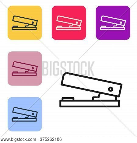 Black Line Office Stapler Icon Isolated On White Background. Stapler, Staple, Paper, Cardboard, Offi