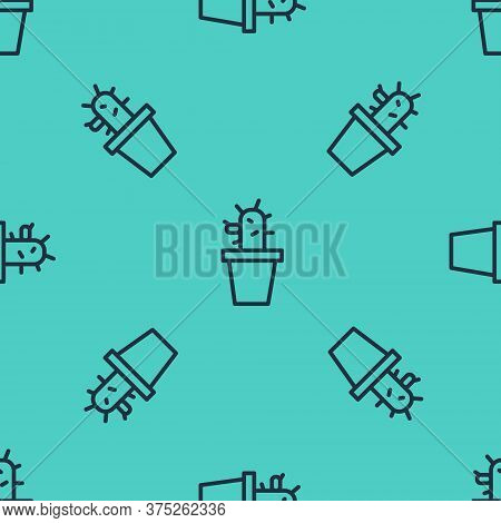 Black Line Cactus And Succulent In Pot Icon Isolated Seamless Pattern On Green Background. Plant Gro