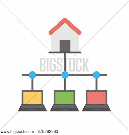 Smart House Icon. Connected Home Symbol. Flat Icon Design For Iot Concept.